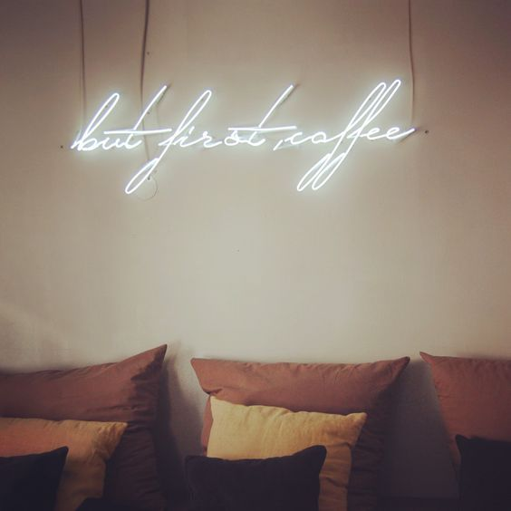 sygns on Etsy - Shop Updates - but first coffee. Custom made #neon sign for a coffee shop in Berlin by sygns. Get in touch to get your own neon installation on www.sygns.com: