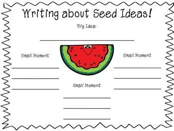 "This visual aid graphic organizer FREEBIE is helpful to use to teach writers how to narrow down their ""watermelon"" topics to ""seed"" ideas. I used this graphic organizer to help my students brainstorm ideas for their personal narrative writing."