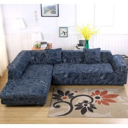 Universal Sofa Cover For L Shape 2pcs Polyester Fabric Stretch Slipcovers 2pcs Pillow Covers For Sectional Sofa L Shape C Sectional Sofa Blue Sectional Couch
