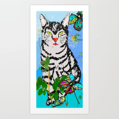 Kater in der Wiese Art Print by Birgit - $15.60