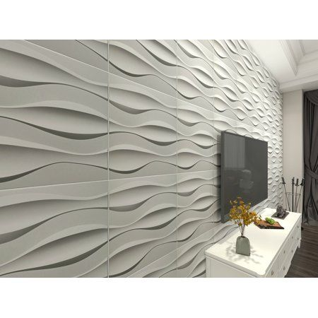 Art3d Wave Design Iii 19 7 In X 19 7 In Pvc 3d Wall Panel 12 Pack Walmart Com In 2020 3d Wall Panels Wall Panel Design Modern Wall Paneling