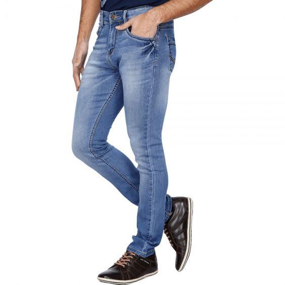Buy HIZ & HERZ Mens Bobby Relaxed Skinny Light Blue Jeans Online ...