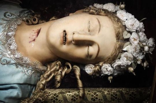 The wax effigy and relics of St. Victoria, the skeleton of a catacomb martyr with cutaways to show her relics. Santa Maria della Vittoria, Rome.