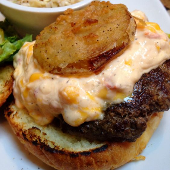 "Fried Green Tomato Pimento Cheese Burger. #Sundae Cafe. #tybee island....aaron saw and said ""f@*< yeah!"""