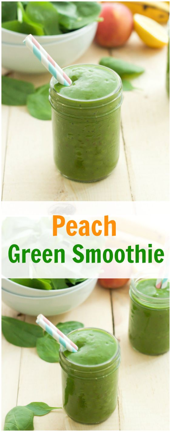 Peach Green Smoothie - This creamy peach green smoothie is a great ...