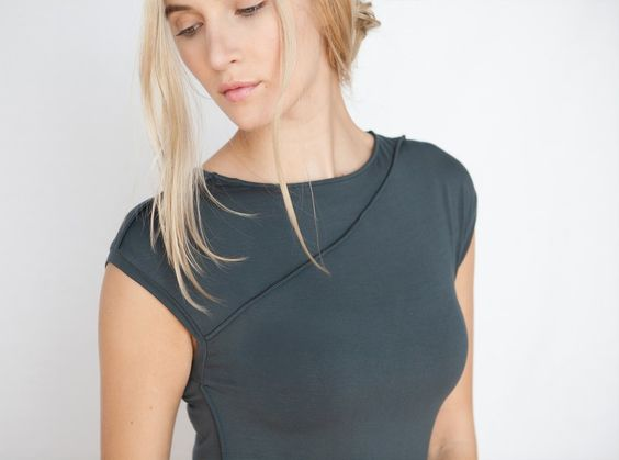 NFP for Mavenhaus Collective NFP1-L: Long Curve Seam Jersey Dress in Slate - Mavenhaus Collective