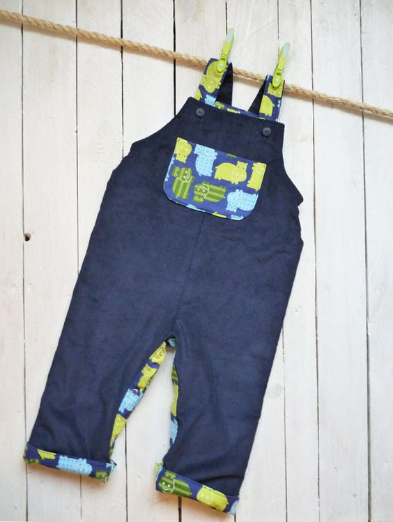 Childrens & Baby Reversible Dungarees Boys (Ages 6-9mths and 9-12mths)