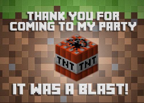 Minecraft Birthday Thank you card ~  Digital download ~ Mindcraft ~ Mine craft