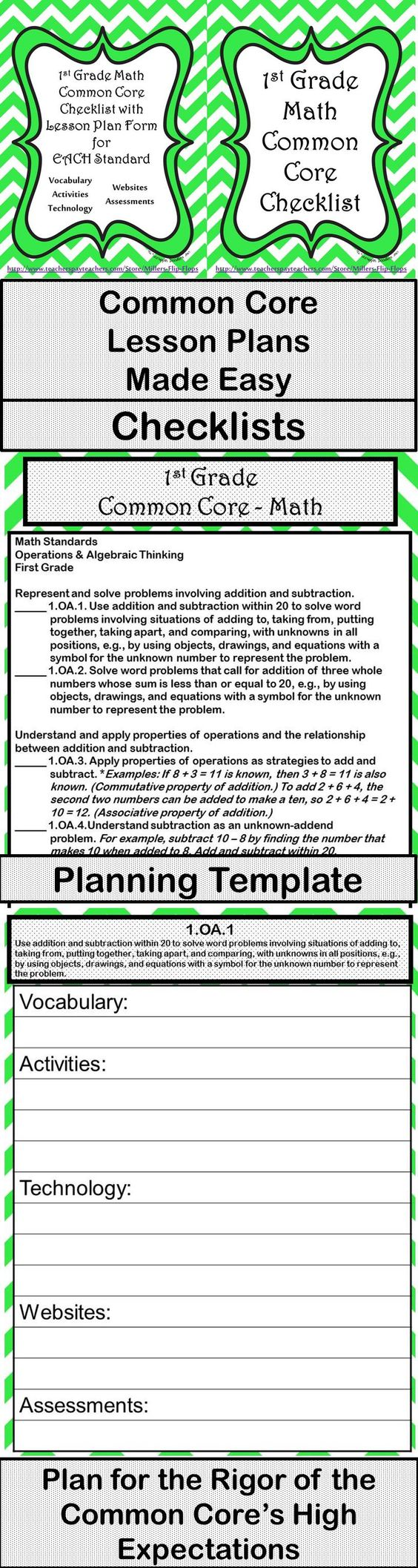 1st grade math common core checklist lesson planning for Lesson plan template using common core standards