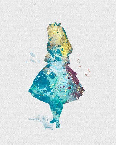 Alice In Wonderland Watercolor Art Kids Game Room Ideas