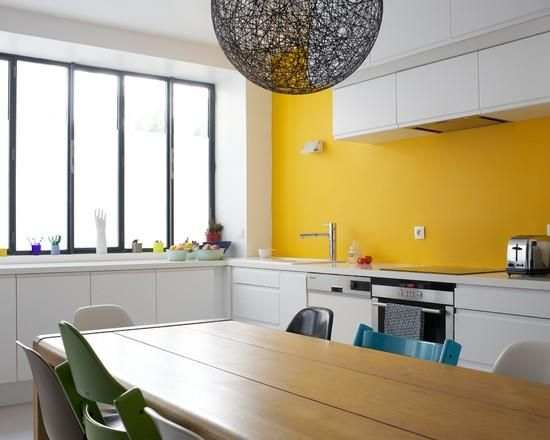Awesome Cuisine Blanche Mur Gris Et Jaune Ideas - Design Trends ...