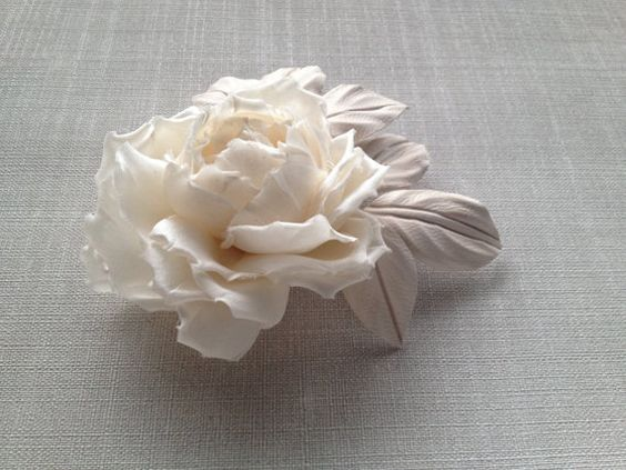 Ivory Bridal hair flower Bridal headpiece by JewelryWithTaste