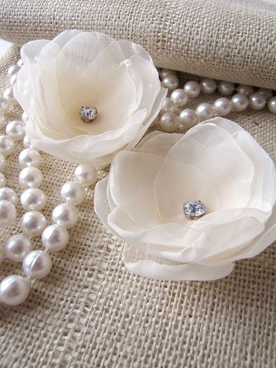 Bridal hair pins with handmade sheer voile fabric flowers (set of 2 pcs) - IVORY MAGNOLIA BLOSSOMS