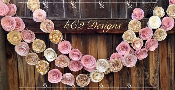Paper Flower Garland. blush garland. gold Wedding Garland. Pink flowers paper flower garland rose quartz gold garland nursery decor baby girl