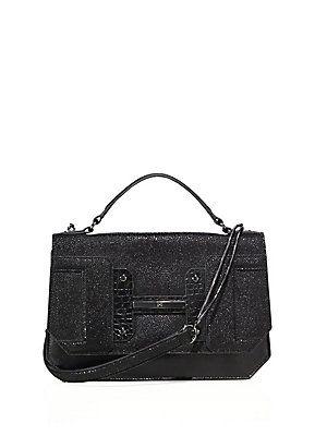 Halston Heritage Embossed Leather Shoulder Bag - Black - Size No Size
