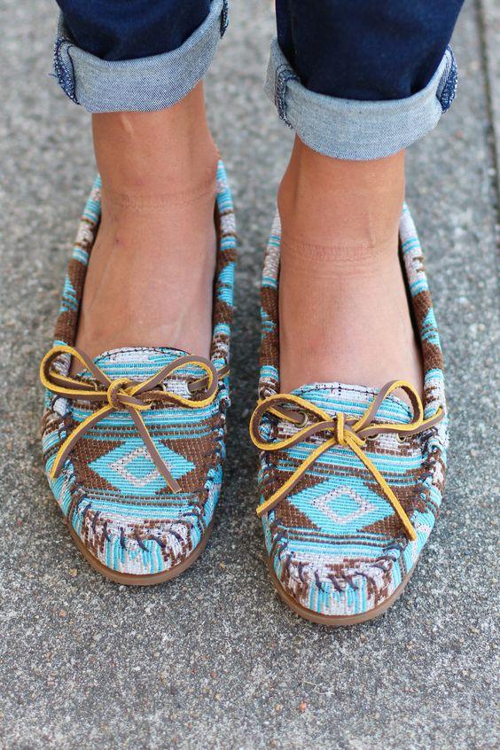 Minnetonka: Baja Moccasin {Turquoise} - The Fair Lady Boutique - 1