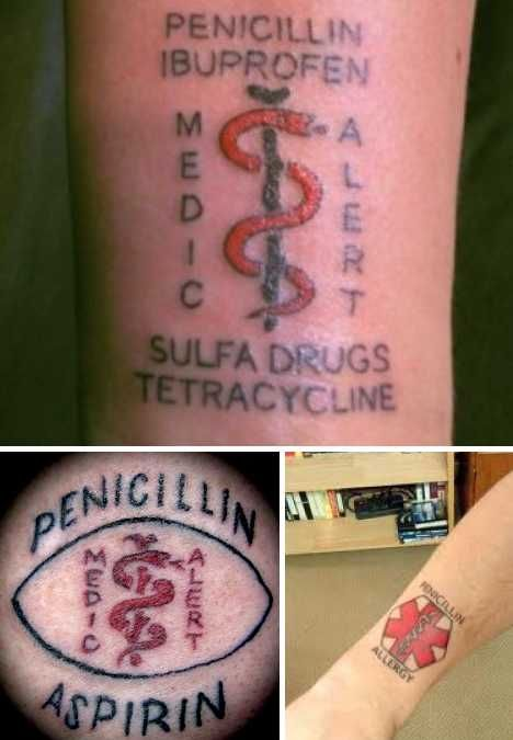 Diagnostic Ink: The Skinny On Medical Tattoos | WebEcoist I would love to have all my drug allergies tattooed onto my body so I don't have to remember the list!