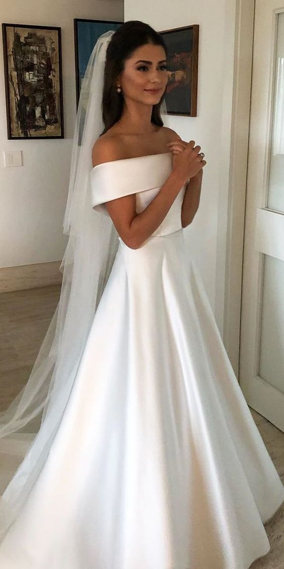 Simple Strapless A Line Satin Wedding Dresses Long White Bridal Gown Sleeveless Women Ivory Bride Dress Custom From Custom Bridal Gowns Cheap Bridal Dresses Cheap Wedding Dress Online Wedding Dress