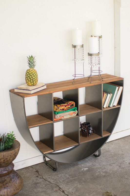 semi circle console with recycled wood shelves