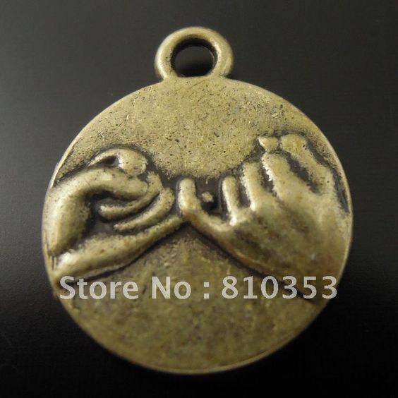 Estilo vintage antique bronze liga tom rosado jurar promessa charme pingente encontrar 14*14*2mm 50pcs 36048