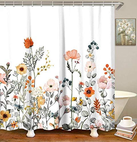 Livilan Fabric Floral Shower Curtain Set With 12 Hooks Wa Https