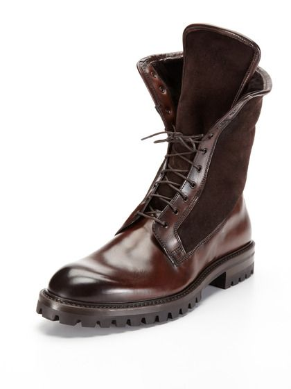Antonio Maurizi Leather and Shearling Boots | Him | Pinterest ...