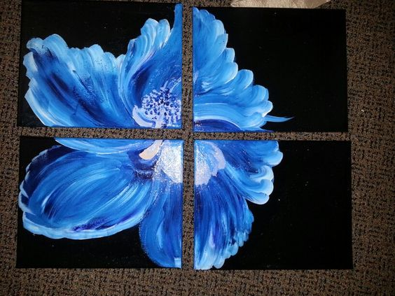 Four piece blue hibiscus....completed in 3 days.