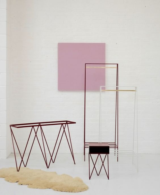 Image of 'A' clothes rail in beetroot