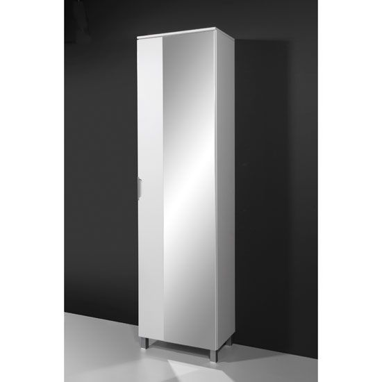 Free standing bathroom floor cabinet with 3 shelves white traditional - Stunning High Gloss Front Bathroom Cabinet With 4 Shelves