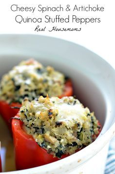 Cheesy Spinach & Artichoke Quinoa Stuffed Peppers   Real Housemoms   This is so good I couldn't stop at one!!!