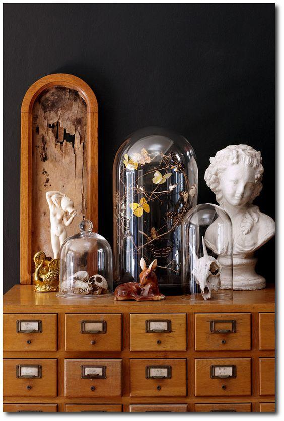 Cranes et papillons sous cloches, buste, sculptures animales et meuble de rangements à tiroirs.