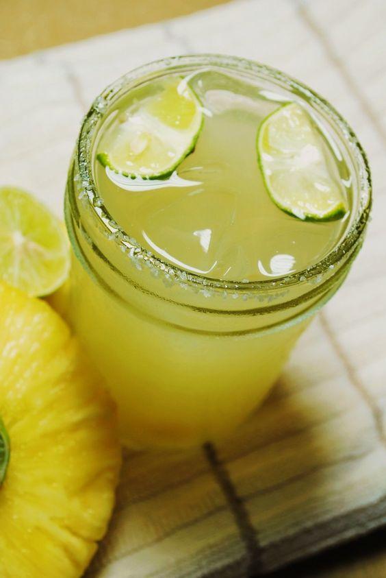 Pineapple Margarita- salt, lime wedges, 1 cup tequila, 1 cup pineapple ...