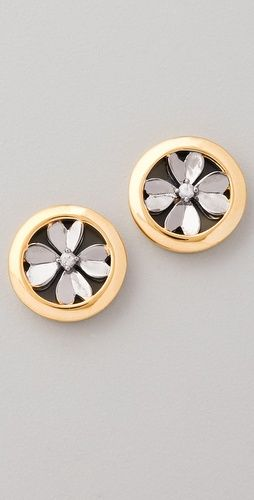 Elizabeth and James: Round Clover Stud Earrings (White Sapphire)