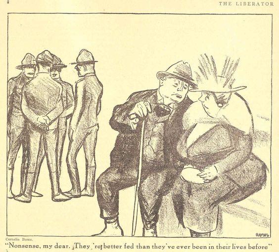 A Man of Family: Liberator Magazine Art, August 1918, political cartoon