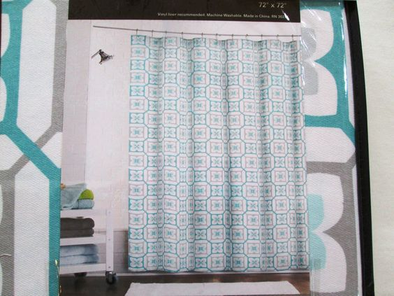 NEW Max Studio Home Fabric Shower Curtain Grey Aqua Teal White Geomet