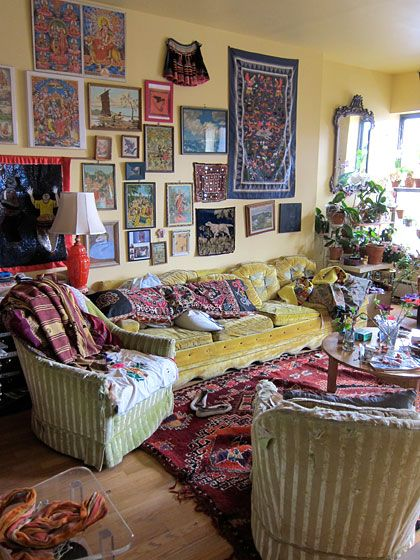 OMG- that's a Hmong paj ntaub on the wall! Awesomeness! Love this living room too!: