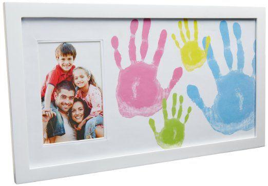 Pearhead 81016 Family Handprint Frame, Bilderrahmen für Handabdrücke der ganzen Familie, weiߟ