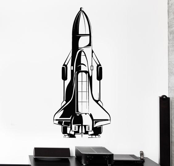 Wall Vinyl Decal Space Shuttle Austronaut Cosmos Big Home Interior Decor z4432