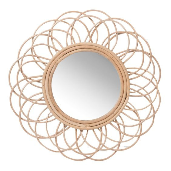 miroir rond en rotin d 50 cm vintage maisons du monde rotin. Black Bedroom Furniture Sets. Home Design Ideas