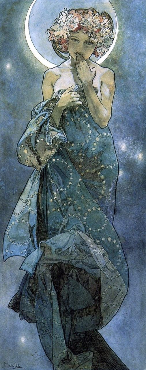 Moonlight by Alfons Mucha