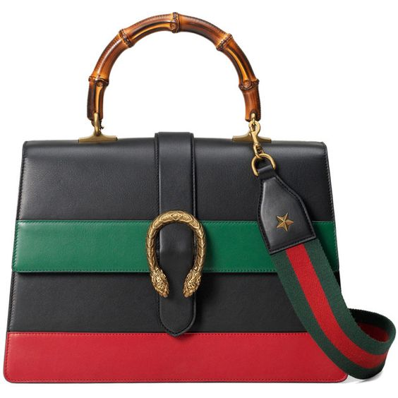 Gucci Dionysus Stripe Bag ($3,500) ❤ liked on Polyvore featuring bags, handbags, kirna zabete, top handles, gucci purses, bamboo handle handbag, gucci handbags, genuine leather handbags and shoulder strap purses