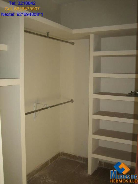 Closet tablaroca closet pinterest closet for Closet de concreto para cuartos