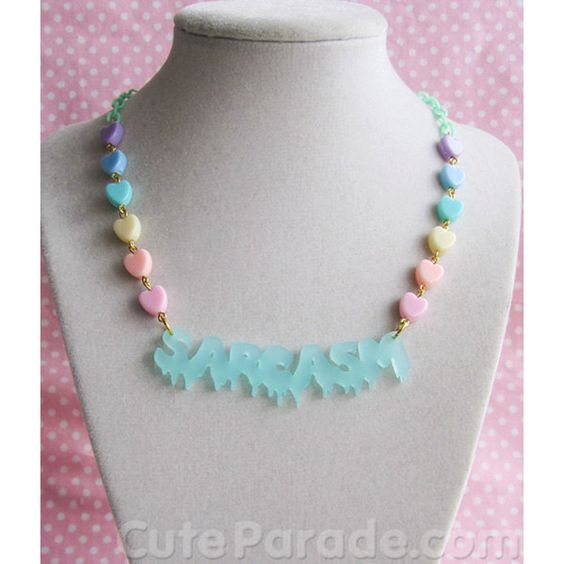 Frosted Mint Dripping Sarcasm Necklace Fairy Kei Pastel Goth Creepy... ($15) ❤ liked on Polyvore featuring jewelry, necklaces, gothic jewellery, mint jewelry, acrylic jewelry, lucite jewelry and pastel goth jewelry