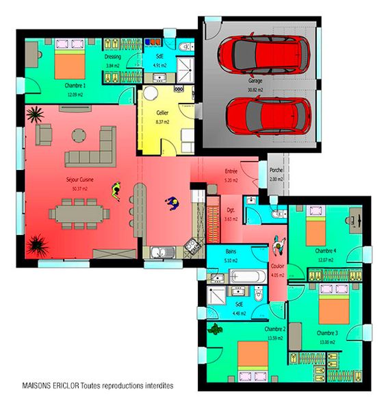 Maison contemporaine de plain-pied Bed room, House and Construction