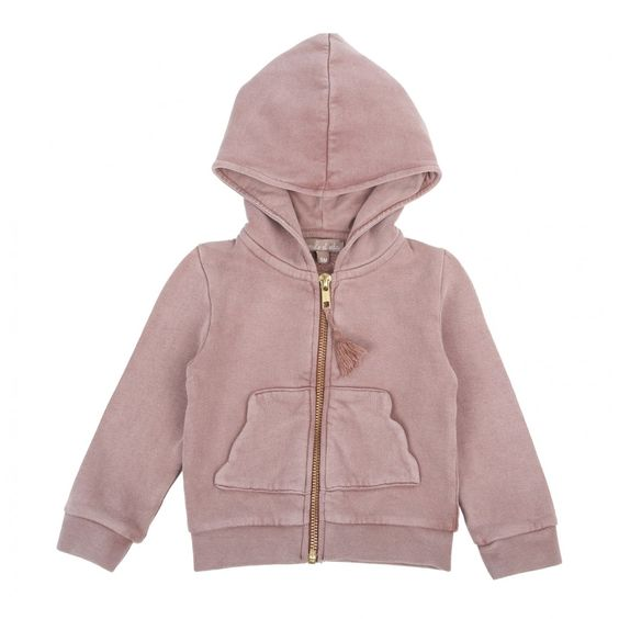 Cloud fleece zipper cardigan pink
