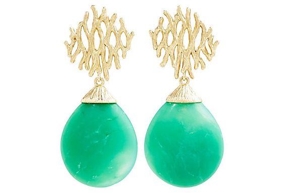 18K Tree of Life Branch Earrings, Green on OneKingsLane.com