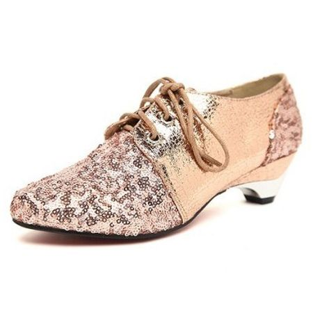Sequins Pointed Toe Lace Up Pumps
