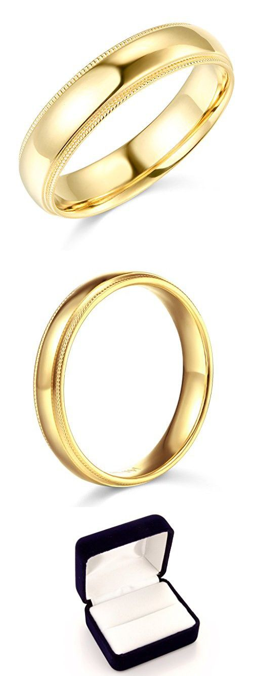 14k Yellow Or White Gold 5mm Solid Comfort Fit Plain Milgrain Wedding Band Milgrain Wedding Bands Yellow Gold Wedding Band Wedding Bands