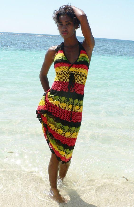Handmade crochet dress 02 Jamaican Rasta colors. Rasta clothing by TIMELESSTRADE