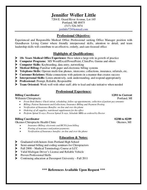 Medical Billing Supervisor Resume Sample - http://resumesdesign ...